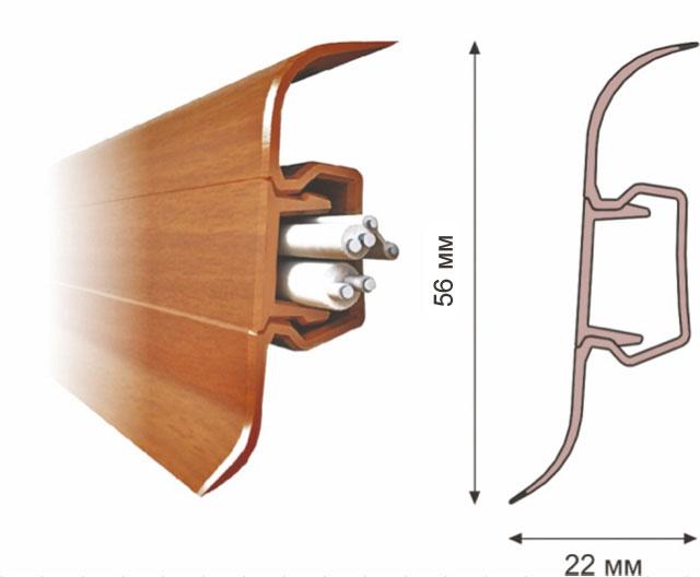 плинтус с кабельканалом для подсветки пола