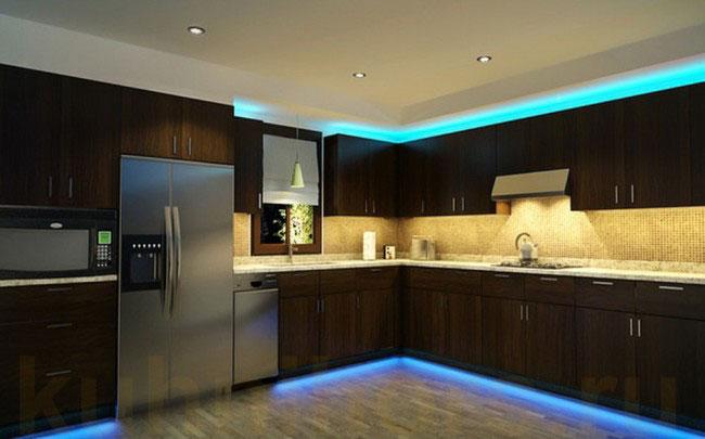освещение led лентой столешницы на кухне