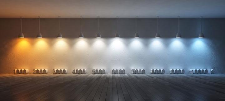 наглядная разница цветовой температуры светильников