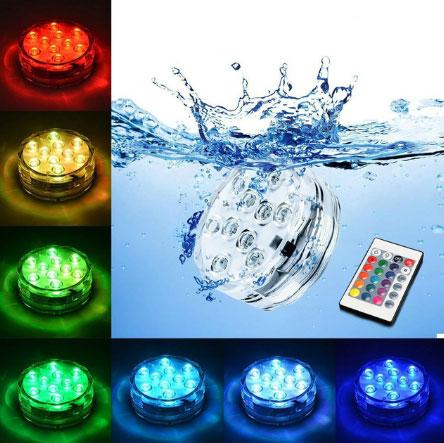 подсветка бассейна герметичными светильниками на батарейках