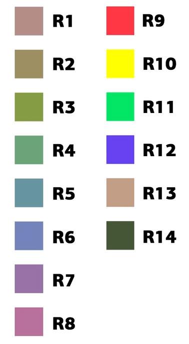 базовые и расширенные оттенки цветов для определения индекса цветопередачи CRI
