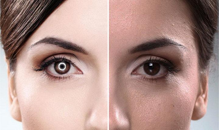 разница при фотосъемке с кольцевым светом и без него