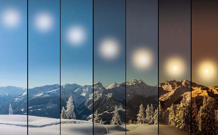 инаглядное изменение цветовой температуры солнечного света