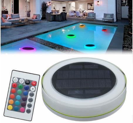 освещение бассейна аккумуляторными светильниками от солнечных панелей