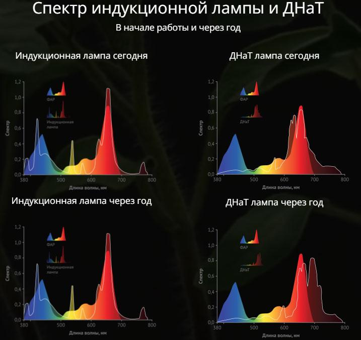 сравнение спектра индукционной лампы и лампы ДНаТ