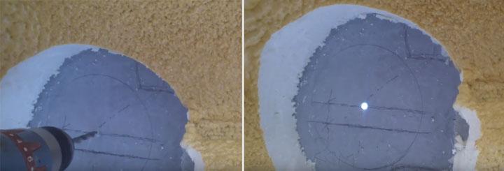 сверление отверстия в бассейне под выход кабеля на светильник