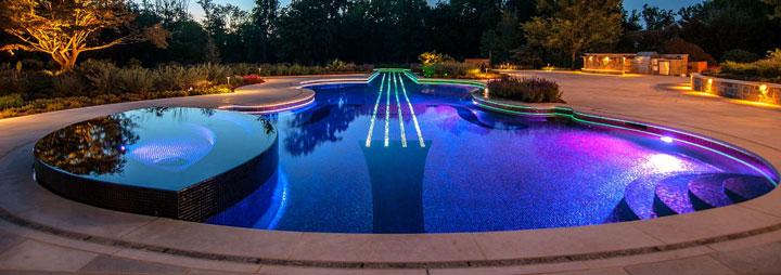 как сделать подсветку бассейна подводными светодиодными светильниками