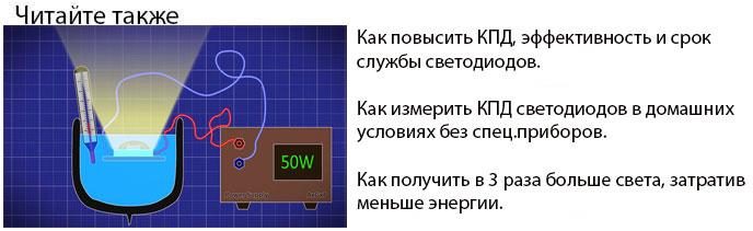 КПД, срок службы и эффективность светодиодов