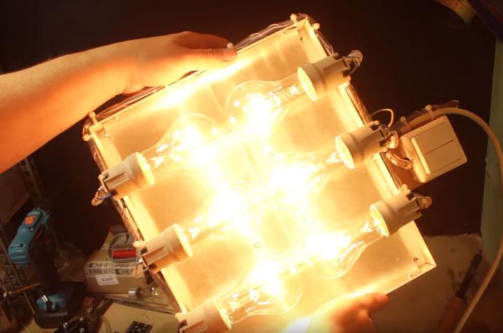 инфракрасный обогреватель из обычных лампочек