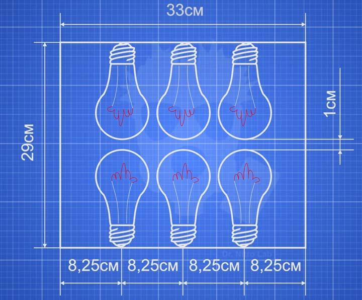 схема сборки самодельного инфракрасного обогревателя из лапочек накаливания