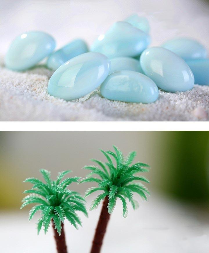 камушки и пальма для лампочки ночника