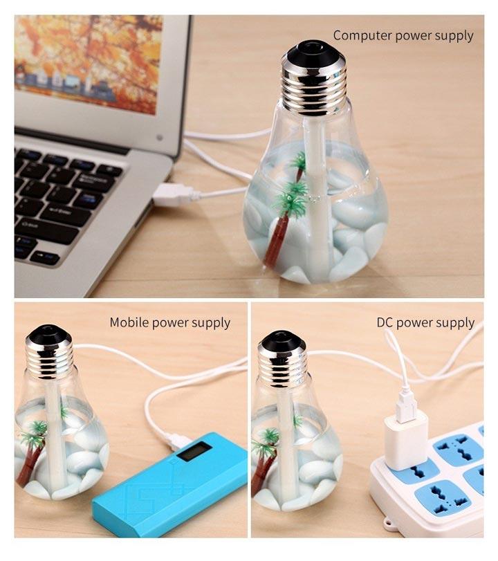 через что можно подключать лампочку ультразвуковой увлажнитель воздуха