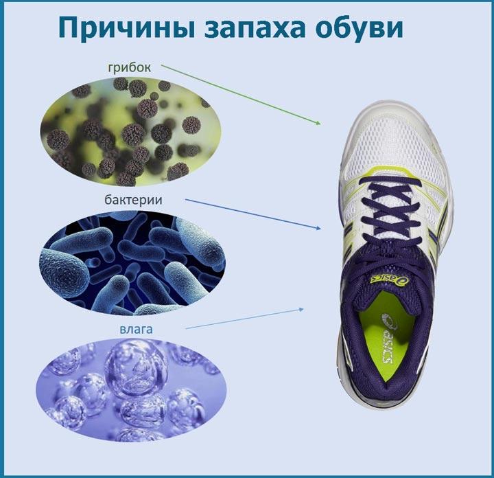причины запах в обуви бактерии