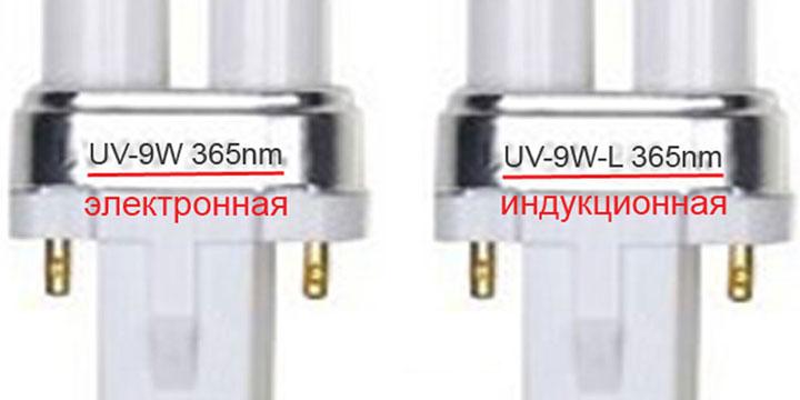 как отличить электронную от индукционной лампочки для лампы сушки маникюра