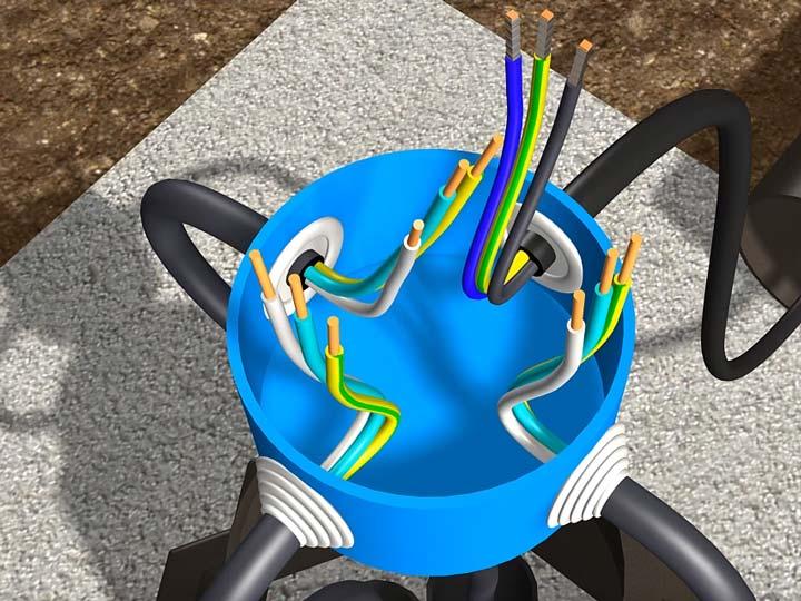 подключение проводов в распредкоробке столба уличного освещения