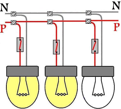 преимущества паралельной схемы подключения ламп накаливания