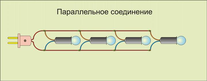 схема параллельного подключения лампочек накаливания