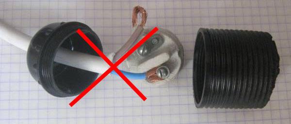 как нельзя подключать провода к патрону многожилы