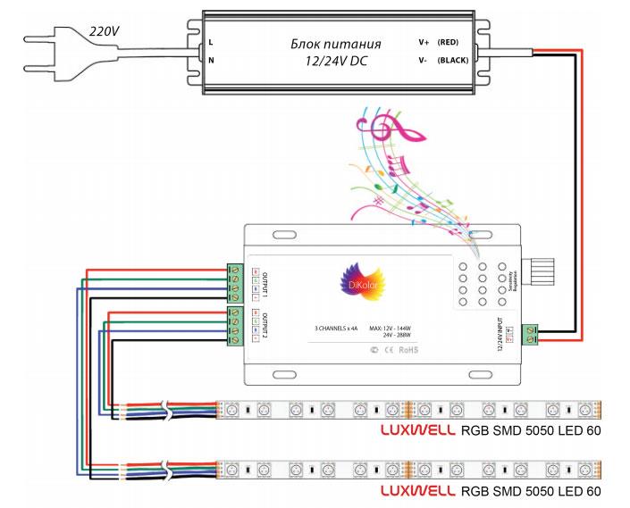 схема подключения музыкального контроллера к светодиодной ленте 10м