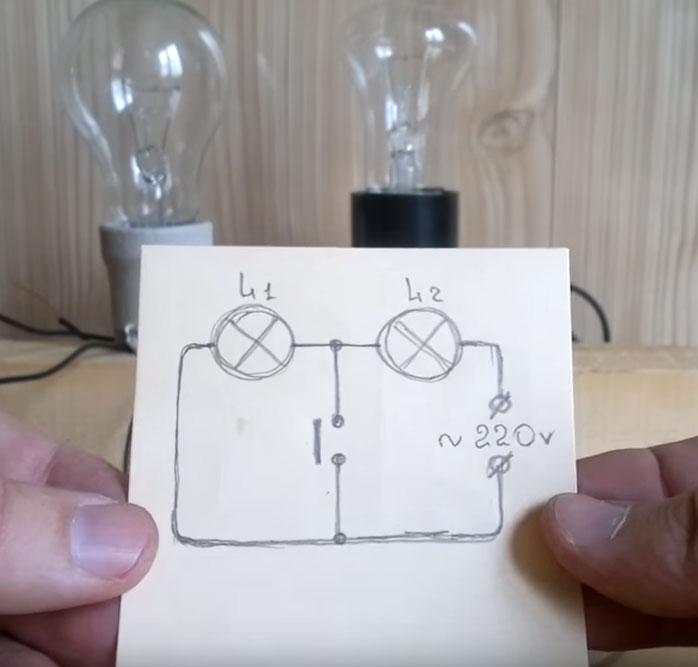 схема неправильной сборки выключателя света и двух ламп при последовательном подключении