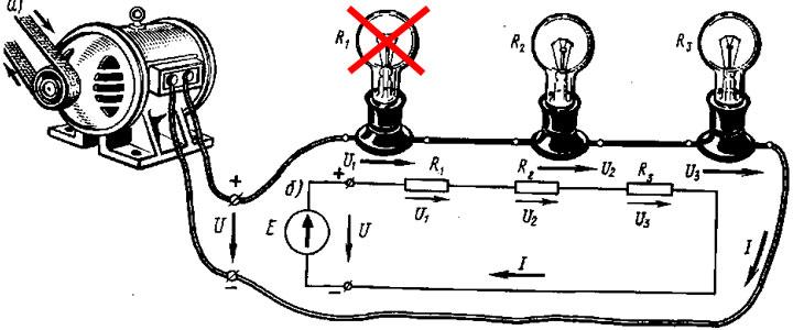 недостатки последовательной схемы подключения лампочек