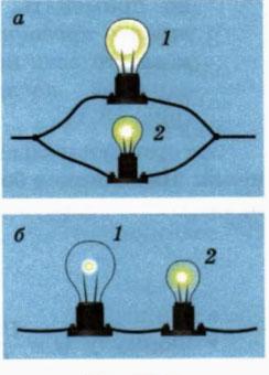 почему лампочки светят с разной яркостью при последовательном подключении