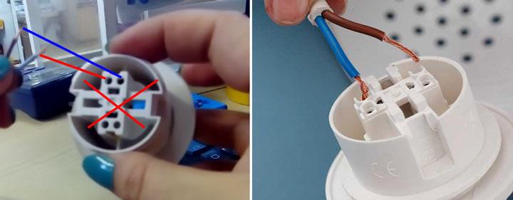 куда правильно подключать провода в быстрозажимном патроне на лампочку
