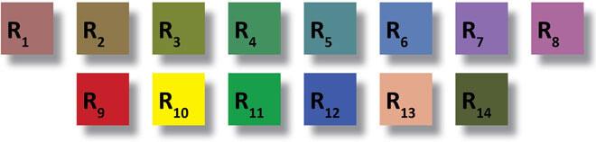 цветовые шаблоны и образцы для определения коэффициента цветопередачи CRI