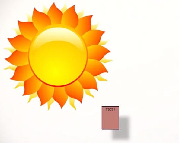 излучение солнечным светом на образец при замере индекса CRI