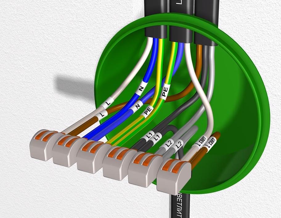 схема соединения проводов при подключении проходного диммера и выключателя света на светильник