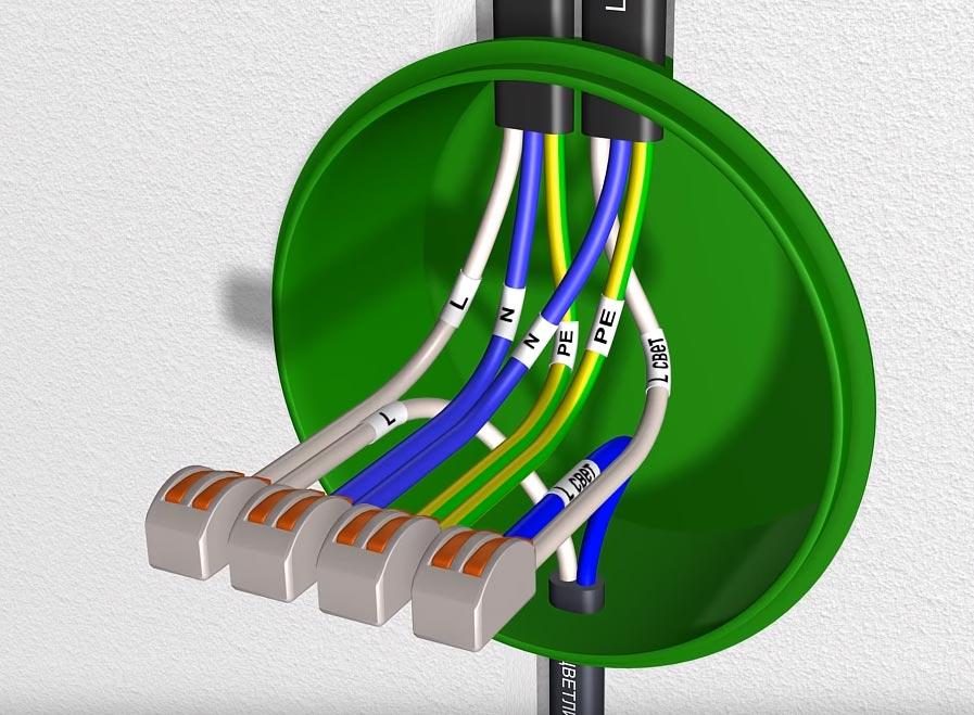 схема подключения кабеля на диммер в распредкоробке
