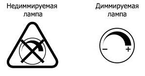 значок диммируемой и не диммируемой лампы