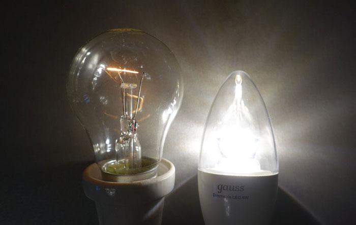 разница снижения яркости при диммировании лампы накаливания и светодиодной лампы