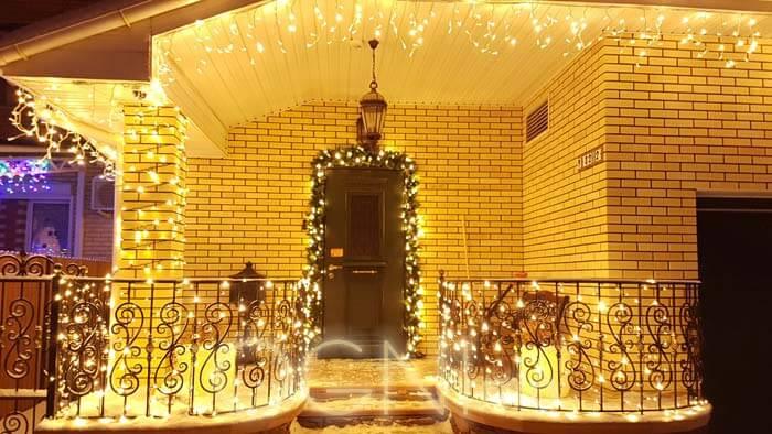 подсветка фасада светодиодной гирляндой