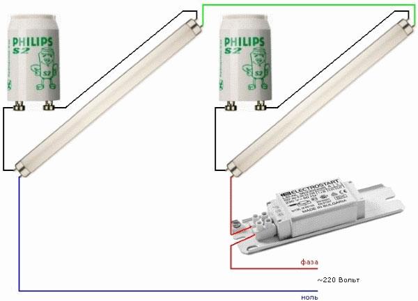 схема подключения люминесцентной лампы с одним дросселем и двумя лампочками