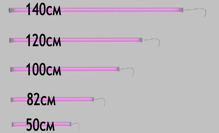 длина линейных фитоламп для рассады и растений