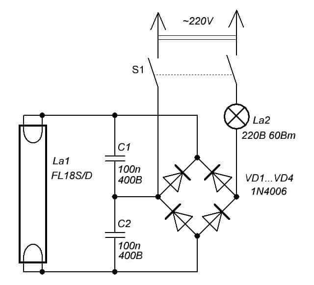 бездроссельная схема включения лампы дневного света