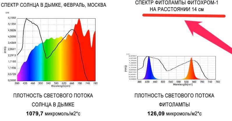 плотность светового потока фитолампы и солнца где больше