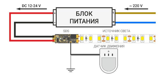схема подключения диммера Smart Fulogy и датчика движения