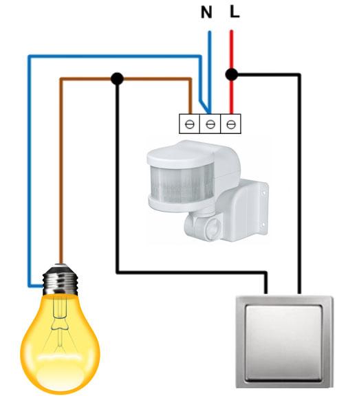схема подключения датчика движения с одноклавишным выключателем