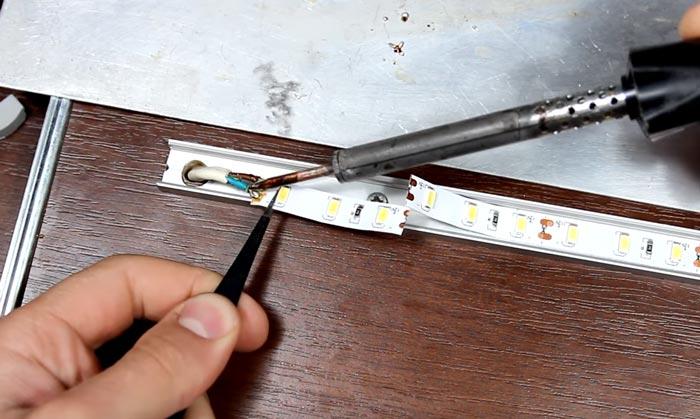 выпаивание проводов со светодиодной ленты