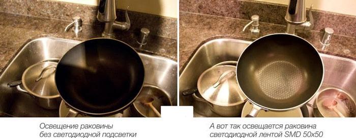 разница между рабочей зоной на кухне с подсветкой и без нее