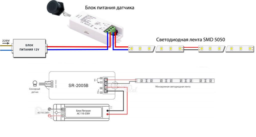 схема подключения подсветки рабочей зоны на кухне через датчик движения или взмах руки на 12В