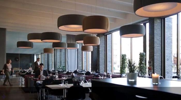 звукопоглощающий светильник в ресторане