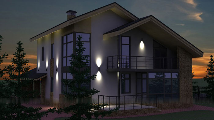 маленькие светильники для подсветки фасада