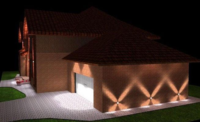 функциональное освещение здания и гаража