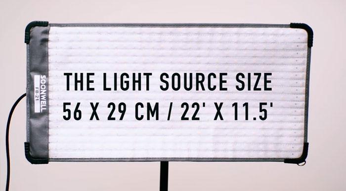 размеры гибкой светодиодной панели для софтбокса soonwell fb21
