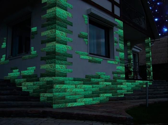 светящаяся плитка на фасаде дома