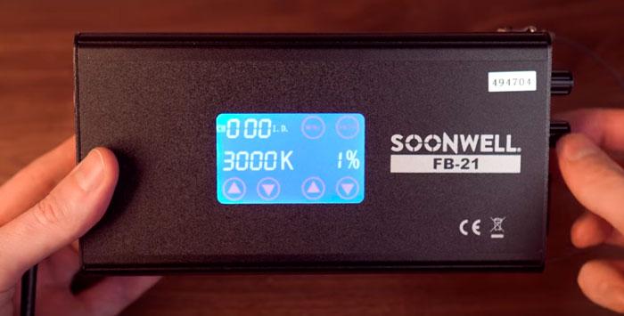 изменение температуры на сенсорном экране софтбокса soonwell fb21