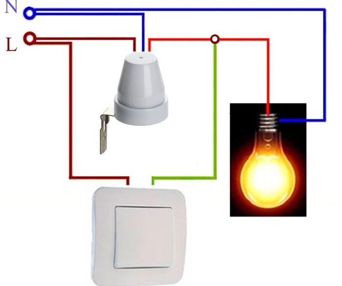 схема подключения датчика света через выключатель